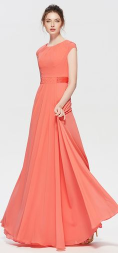 Modest coral bridesmaid dresses For Olivia Jane Coral Bridesmaid Dresses, Indian Skirt, Frock Design, Indian Gowns, The Dress, Beautiful Gowns, Blouse Designs, Designer Dresses, Evening Dresses