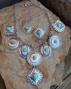 COWGIRL Bling Southwest Turquoise CONCHO Silver tone Western Gypsy NECKLACE SET #TRUE