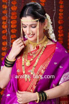 Marathi bride in nauvari saree Marathi Saree, Marathi Bride, Marathi Wedding, Hindu Bride, Wedding Sari, Marathi Nath, Pakistani Bridal, Indian Bridal, Nauvari Saree