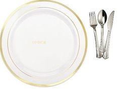 10\u0027\u0027 Dinner / Wedding Disposable Plastic Plates \u0026 silverware white / gold rim  sc 1 st  Pinterest & Bulk Dinner Wedding Disposable Plastic Plates Silverware Party ...