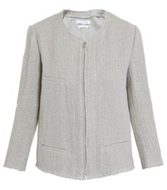 Itha Jacket by Isabel Marant. Grey-blue fine-knit jacket is collarless and has a centre-front zip fastening with a frayed neckline, cuffs and hem edge. Box-cut jacket has three front pockets and a single-vent. #Matchesfashion