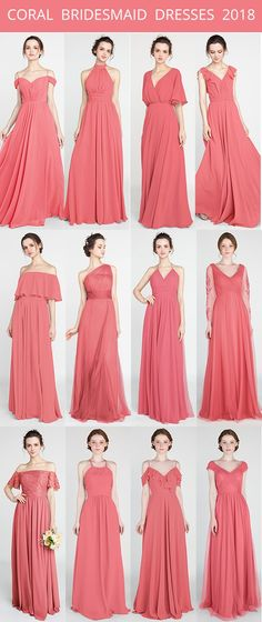 coral bridesmaid dresses for spring summer 2018 #weddingcolors #summerweddings #bridalparty #bridesmaiddress