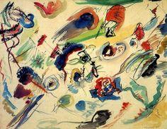 Reproduction de Kandinsky, Sans titre - Première aquarelle abstraite. Tableau peint à la main dans nos ateliers. Peinture à l'huile sur toile.