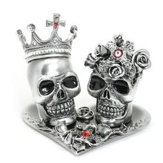 Day of the Dead Skull Wedding Cake Topper Ceramic Handmade AT00012