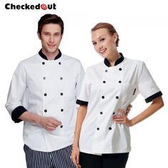 New Design Black Hem Collar Cook Chef Coat Uniform