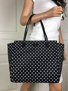 d0f854f85c70 NEW Kate Spade Black White Polka Dot Large Tote Shoulder Bag Purse Handbag