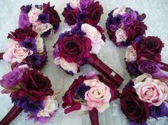Sangria Rose Bridal Bouquet Set By Modagefloral On Etsy