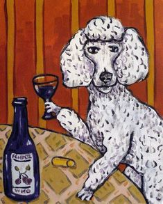 poodle menorah 8x10  art PRINT hanukah impressionism animals dog