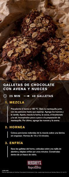 La vida será más dulce después de probar estas nutritivas y ricas galletas.  INGREDIENTES: -1½ tazas de COCOA HERSHEY'S® -1 taza de mantequilla suavizada -1½ tazas de azúcar -1 taza de azúcar morena -2 huevos -2 cucharaditas de extracto de vainilla -1 cucharadita de bicarbonato de sodio -½ cucharadita de sal -3 tazas de hojuelas de avena -½ taza de nueces picadas  #Receta  #Galletas #Chocolate #Delicioso #Nutritivo #Postre #Repostería