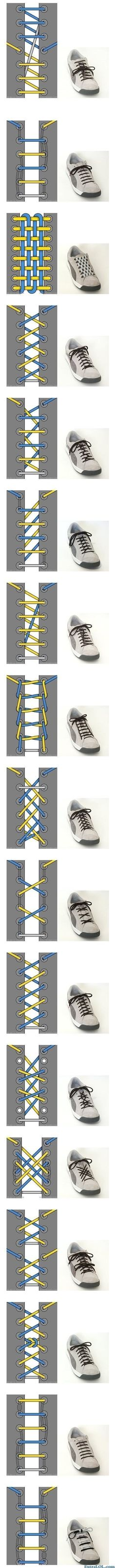 17 ways to tie shoe laces      (http://www.extralol.com/?pic=34060c1be80de1c703016dc0995c4163)
