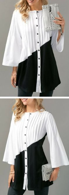 Button Up Pintuck Color Block Blouse.