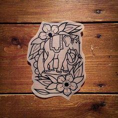Flowers and an elephant  #tattoo #tattooart #tattooflash #traditional #tattoodesign #traditionaltattoo #art #castleford #design #drawing #equilattera #flash #illustration #leeds #lovettt #linedrawing #newschool #oldschool #uktta #wakefield #elephant by dom_butler_