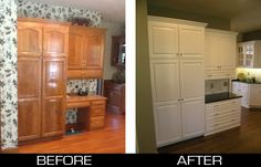 "Transformed from plain ""Golden Oak"" to Stunning White Cabinet Reface Kitchens & Bathrooms Refacing Kitchen Cabinets, Cabinet Refacing, Grey Cabinets, Kitchen Cupboards, Painting Oak Cabinets White, Wood Refinishing, Kitchen Display, Golden Oak, Custom Cabinetry"