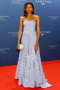 Naomie Harris arrived on the red carpet in a sweeping Ralph Lauren strapless gown at the Swedish premiere of Spectre in Zurich - October  27, 2015