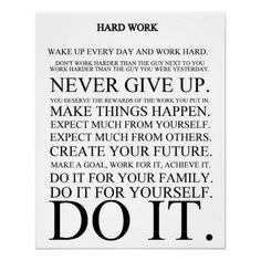 Hard Work Manifesto Poster from Zazzle.com