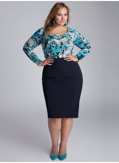 8d97e44a58d90 Monroe Plus Size Skirt in Navy Blue by IGIGI Blue Skirt Outfits
