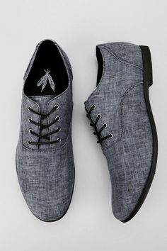 Feathers Canvas Stentorian Oxford, grey shoes for men
