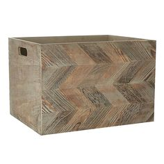 Crafted from Paulownia wood with a chevron pattern detail, this fully assembled box features cut-out handles and is available in a choice of sizes. Plastic Box Storage, Toy Storage, Storage Boxes, Repurposed Furniture, Home Decor Furniture, Chevron Patterns, Decorative Storage, Modern Colors, Unique Home Decor