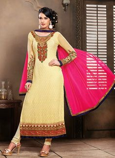 Capture the priceless moments in this exclusive creation in Beige Georgette Embroidered Designer Salwar Suit with Embroidered. Comes with perfect unique color combination of  Beige and marvelous Suits & Dupatta