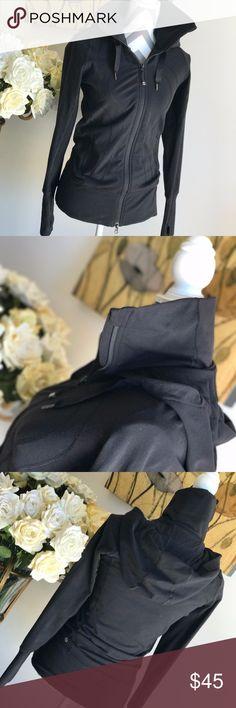 Lululemon Zip up hooded long black stretch jacket Lululemon Zip up hooded long black stretch jacket lululemon athletica Jackets & Coats