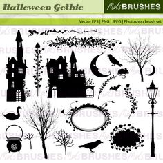 A vintage style gothic set of spooky halloween haunted house images and more things that go bump in the night.    FILE FORMATS YOU WILL RECEIVE  Vector EPS 8  Photoshop brush set (created in Photoshop CS)  22 Individual transparent PNG images  22 high quality JPEG images