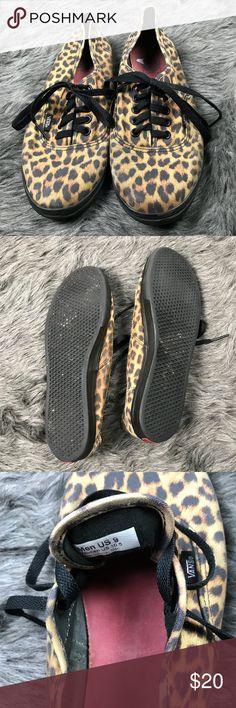 MENS Vans Cheetah print sz 9 women's 10.5 Slim fit red insoles and black bottoms Vans Shoes Loafers & Slip-Ons