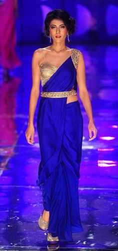 http://www.JyotsnaTiwari.com/ Saree Gown @ India Bridal Fashion Week 2013