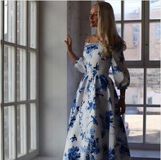 women dress cute print a-line three quarter puff sleeve slash neck floor-length broadcloth summer long maxi dress sexy  prom