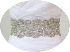 NATHALIE II  - Flamboyant Bridal Crystal Rhinestone Sash, Wedding Rhinestone Sash, Beaded Sash, Rhinestone Bridal Belt. $220.00, via Etsy.