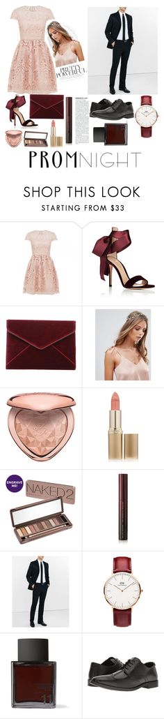 """prom nite #promnight"" by farinndhf ❤ liked on Polyvore featuring Gianvito Rossi, Rebecca Minkoff, ALDO, Too Faced Cosmetics, L'Oréal Paris, Urban Decay, Kevyn Aucoin, Express, Daniel Wellington and Odin"