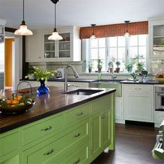 Green Kitchen Cabinets– Green is actually absolutely a lovely shade for your home kitchens. Green Kitchen Cabinets, Refacing Kitchen Cabinets, Kitchen Cabinet Design, Cabinet Refacing, Cabinet Ideas, Kitchen Designs, Budget Kitchen Remodel, Kitchen On A Budget, Kitchen Remodeling