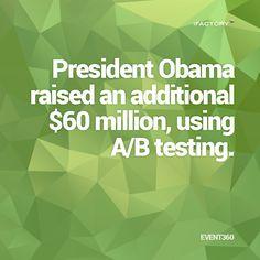 President Obama raised an additional $60 million, using A/B Testing #ifactory #landingpages #marketing #digitalmarketing Ab Testing, Mobile Application, App Development, Statistics, Mind Blown, Brisbane, Obama, Landing, Digital Marketing