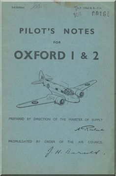 Airspeed OXFORD 1 & 2 Aircraft Pilot's Notes Manual - A.P. 1596 A & B - P.N. 3rd Edition - Aircraft Reports - Manuals Aircraft Helicopter Engines Propellers Blueprints Publications