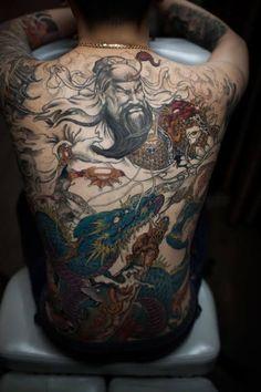 Chronic Ink Tattoo - Toronto Tattoo Guan Yu (god of war) and dragon full back tattoo in progress by Tony Sweet Tattoos, Dog Tattoos, Couple Tattoos, Guan Yu, Back Tattoos For Guys, Full Back Tattoos, Owl Tattoo Design, Tattoo Designs Men, Trendy Tattoos