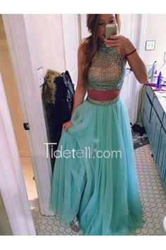 Hot Sale A-line 2 Pieces High Neck Tulle Prom Dress With Beaded