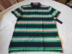 Men's Tommy Hilfiger Polo shirt stripe logo 7850317 Navy Blazer PT 416 M NWT #TommyHilfiger #polo
