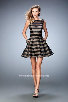 979621ffb1df Sublime Burnout Stripe Cocktail Dress by La Femme 22018. WhatchamaCallit  Boutique