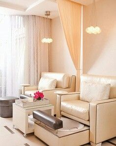 Idea for hidden foot bath, foot rest and curtain separation