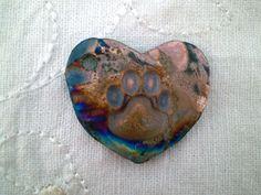 Paw Print Bead, Raku Bead, Heart Focal Bead, Handmade Bead Supply