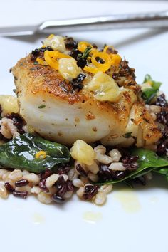 Fennel and Thyme Crusted Cod with Meyer Lemon, Oil-Cured Olives & Black Forbidden Rice (cod, olive oil, dried fennel seed, fresh thyme leaves, meyer lemon, honey, black oil-cured olives, black rice, barley, baby spinach)