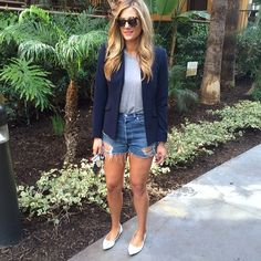 Navy Blazer + Denim Shorts. big tortoise sunnies.  Perfect look.