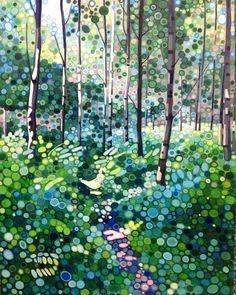 Spring birches acrylic on canvas 40x50cm by Ewa Adams