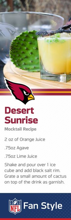Baking in the hot Phoenix sun? Sit back, cool down, and sip on this cactus and citrus mocktail while taking in your Arizona Cardinals Homegate.