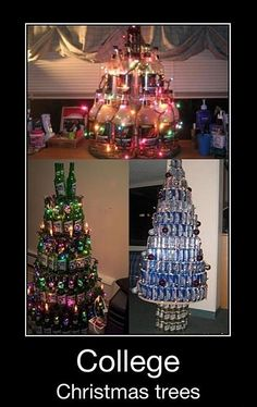 Recycled Christmas Decorations: Using Busch Light cans as ornaments almost got us kicked out of housing my junior year. Ah, memories.