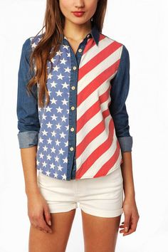 American Style Clothes American Flag Chambray Button-Down Shirt. I WANT THIS!!!