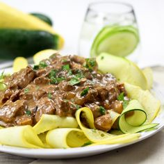 Skinny Beef Stroganoff On Zucchini Ribbons. You can easily use the recipe for Chicken or Turkey.