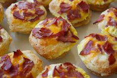 Breakfast muffins: roll out canned biscuits and push into muffin tins. scrambled eggs/cheese/bacon in the well. fill half way, don't overfill!  bake 10-12 minutes @ 400 degrees.