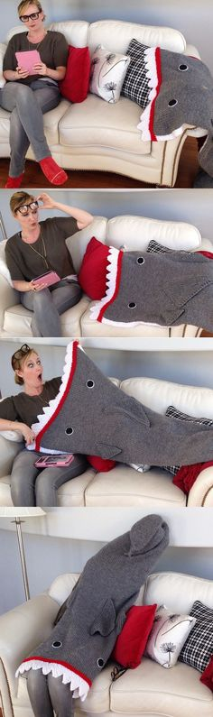 Free knitting pattern for Shark Attack Blanket - Kari Provencher designed this version of a shark blanket in adult sizes. Fast knit in super bulky yarn. Pictured project and great photos are by jennipoo.