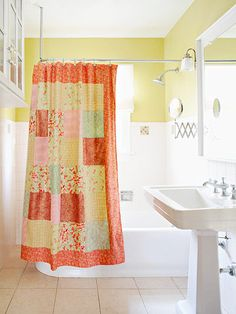 Cottage Patchwork Shower Curtain... I like this tutorial because it includes instructions for a lining.  I don't have a serger, and didn't know how to approach the problem of having raw seams on the back.