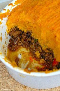 Ovenschotel met pittig linzengehakt en zoete aardappel - Lovemyfood